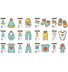 clothes line icon set vector image