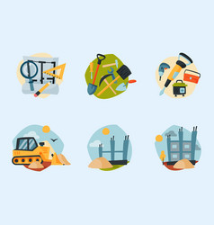 construction site workers aerial industry vector image