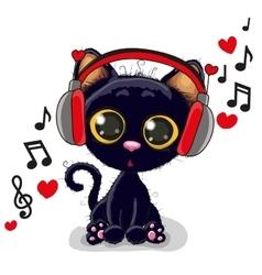Cute cartoon black kitten vector