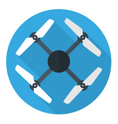 Drone or quadrocopter flat circle icon isolated vector