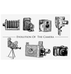 evolution of the photo video film movie camera vector image vector image