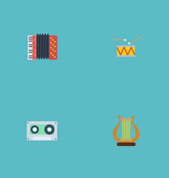 flat icons tape lyre tambourine and other vector image vector image