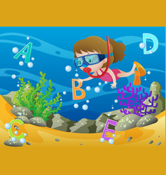 Girl diving underwater with english alphabets vector