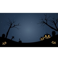 Halloween scary pumkins at the night vector