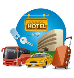 Hotel services and transport vector