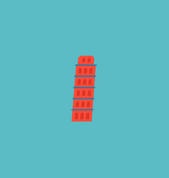 icon flat leaning tower element vector image vector image