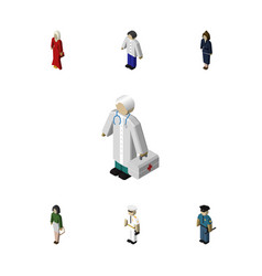 Isometric people set of medic officer seaman and vector