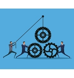 Men business cooperation gears team work vector