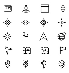 Navigation line icons 4 vector