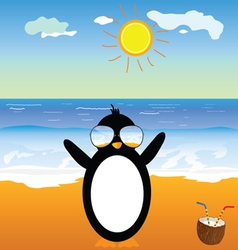 Penguin with coconut on the beach vector