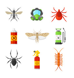 pest control cartoon flat set vector image vector image