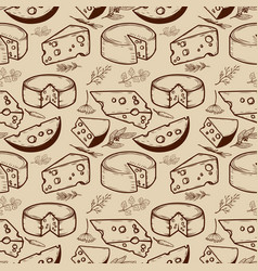 Seamless pattern with cheese and spices design vector