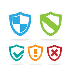 set of colored protection shield icons on a white vector image vector image
