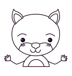 sketch silhouette caricature half body of cute cat vector image vector image