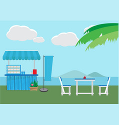 small shop with sea background vector image vector image