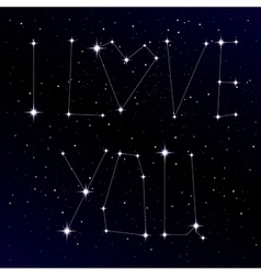 Starry love message as constellation vector image