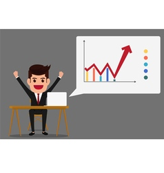 Successful business growth chart vector image vector image
