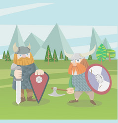 two viking warriors flat style vector image vector image