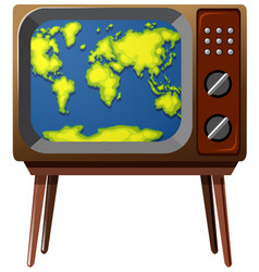 Worldmap on television screen vector