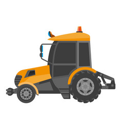 yellow model of bulldozer close-up realistic vector image