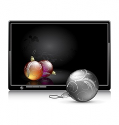 LCD panel with Christmas baubles vector image