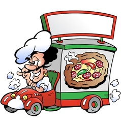 Hand-drawn of an Italien pizza dilevery car vector image