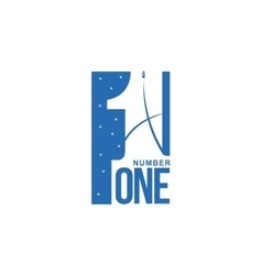 blue and white number one diagonal logo template vector image