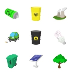 Kind of energy icons set cartoon style vector image