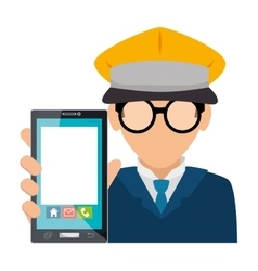 Taxi driver with smartphone device isolated icon vector