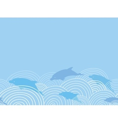 Dolphines among waves horizontal seamless pattern vector image