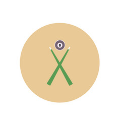 Stylish icon in color circle billiard ball cue vector