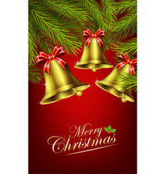 Christmas bells with palm tree vector