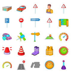Motor vehicle icons set cartoon style vector