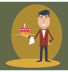 Waiter with cake vector