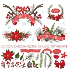 Christmasnew year decor setspruce branchescones vector