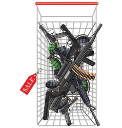 Many kind of weapons in the shopping cart vector