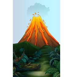 Nature scene with volcano eruption vector image