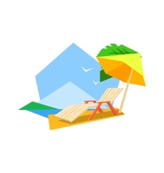 Beach sunbed and umbrella vector