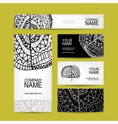 Business cards collection ethnic ornament for vector