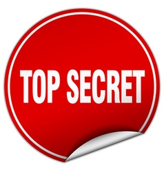 top secret round red sticker isolated on white vector image