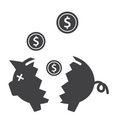 Broken piggy bank vector