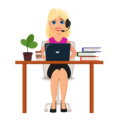 business woman working on laptop at her office vector image vector image