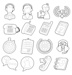 Call center items icons set outline cartoon style vector
