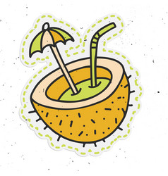 coconut cocktail sticker hand draw vector image