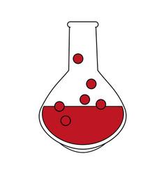 Color silhouette image glass circular beaker for vector