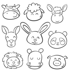 doodle of animal style hand draw vector image vector image