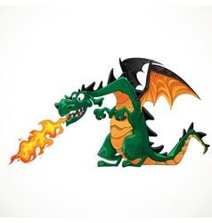 Fabulous magical green with teeth fire-spitting vector