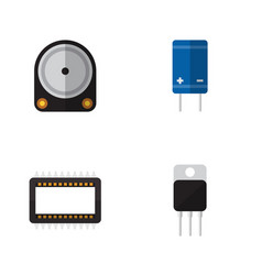 Flat electronics set of transistor hdd mainframe vector