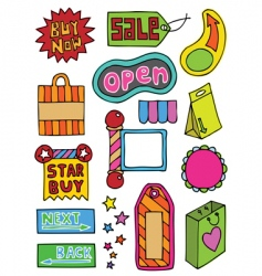 hand drawn web objects vector image vector image