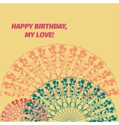 Happy birthday message card with red and blue vector